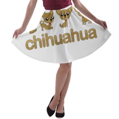 Chihuahua A Line Skater Skirt