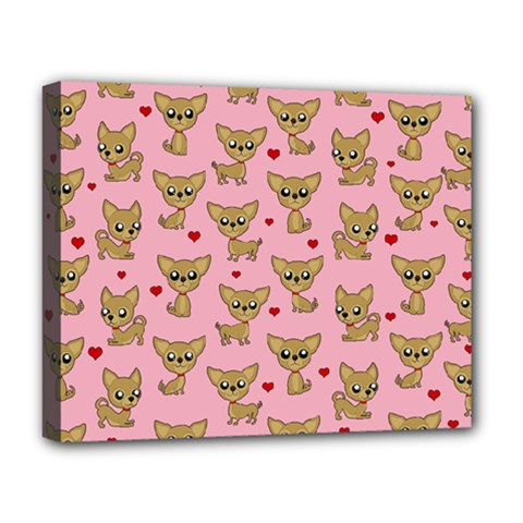 Chihuahua Pattern Deluxe Canvas 20  X 16   by Valentinaart