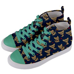 Chihuahua Pattern Women s Mid Top Canvas Sneakers by Valentinaart