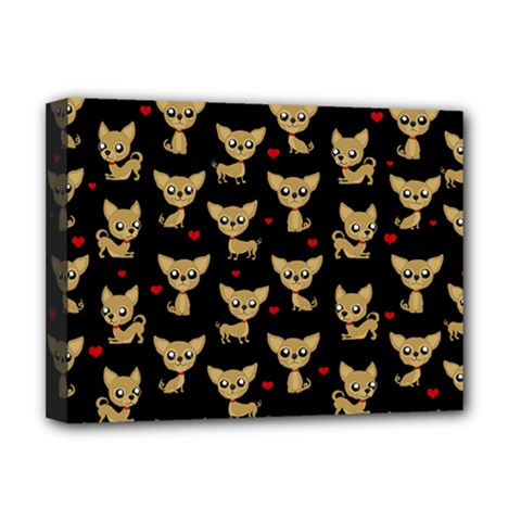 Chihuahua Pattern Deluxe Canvas 16  X 12   by Valentinaart
