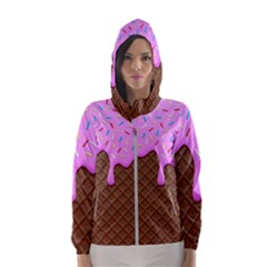 Chocolate And Strawberry Icecream Hooded Wind Breaker (women) by jumpercat