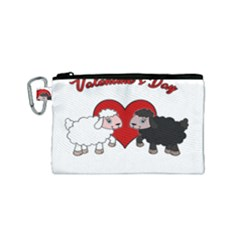Valentines Day   Sheep  Canvas Cosmetic Bag (small) by Valentinaart