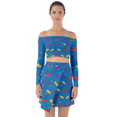 Fish Blue Background Pattern Texture Off Shoulder Top With Skirt Set