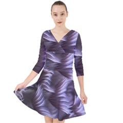 Sea Worm Under Water Abstract Quarter Sleeve Front Wrap Dress