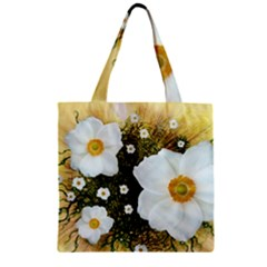 Summer Anemone Sylvestris Zipper Grocery Tote Bag
