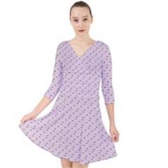 Pink Flowers Pink Quarter Sleeve Front Wrap Dress by snowwhitegirl