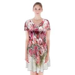 Flowers 2548756 1920 Short Sleeve V Neck Flare Dress by vintage2030