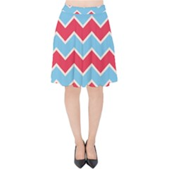 Zigzag Chevron Pattern Blue Red Velvet High Waist Skirt by vintage2030