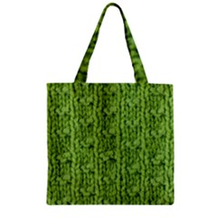 Knitted Wool Chain Green Zipper Grocery Tote Bag