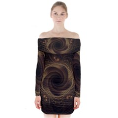 Beads Fractal Abstract Pattern Long Sleeve Off Shoulder Dress