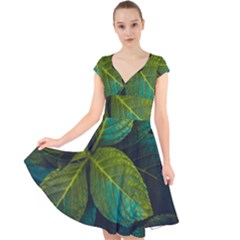 Green Plant Leaf Foliage Nature Cap Sleeve Front Wrap Midi Dress by Nexatart