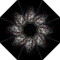 Jesuschrist Face Dark Poster Golf Umbrellas by dflcprints