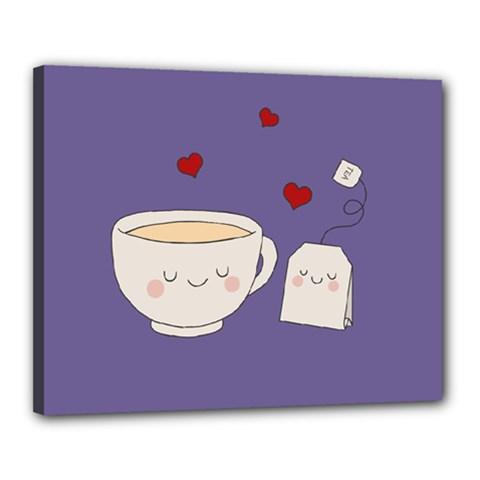 Cute Tea Canvas 20  X 16  by Valentinaart