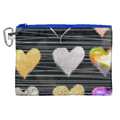Modern Heart Pattern Canvas Cosmetic Bag (xl)