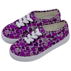 Sparkling Hearts Purple Kids  Classic Low Top Sneakers by MoreColorsinLife