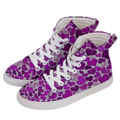 Sparkling Hearts Purple Women s Hi Top Skate Sneakers by MoreColorsinLife
