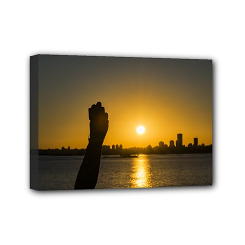 Sunset Cityscape Scene, Montevideo, Uruguay11 Mini Canvas 7  X 5  by dflcprints