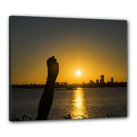 Sunset Cityscape Scene, Montevideo, Uruguay11 Canvas 24  X 20  by dflcprints