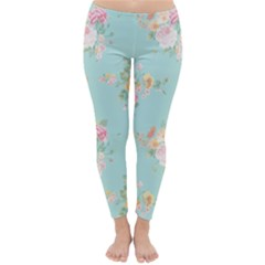 Mint,shabby Chic,floral,pink,vintage,girly,cute Classic Winter Leggings by 8fugoso