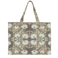 Vintage Daisy Floral Pattern Zipper Large Tote Bag by dflcprints