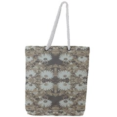 Vintage Daisy Floral Pattern Full Print Rope Handle Tote (large) by dflcprints