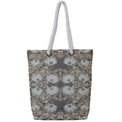 Vintage Daisy Floral Pattern Full Print Rope Handle Tote (small) by dflcprints