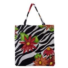 Floral Zebra Print Grocery Tote Bag by dawnsiegler