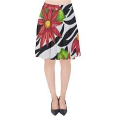 Floral Zebra Print Velvet High Waist Skirt by dawnsiegler