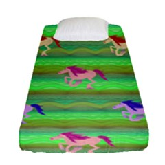 Rainbow Ponies Fitted Sheet (single Size) by CosmicEsoteric