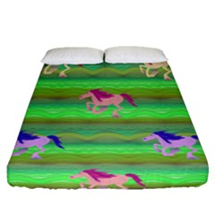 Rainbow Ponies Fitted Sheet (queen Size) by CosmicEsoteric