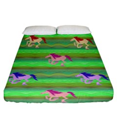 Rainbow Ponies Fitted Sheet (california King Size) by CosmicEsoteric