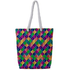 Background Geometric Triangle Full Print Rope Handle Tote (small)