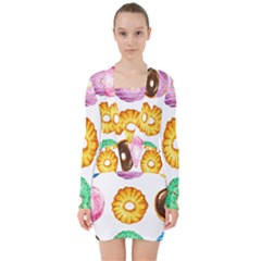 Donuts V Neck Bodycon Long Sleeve Dress by KuriSweets