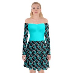 Turquoise Hearts Off Shoulder Plus Size 5xl Skater Dress by Goddess