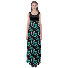 Turquoise Hearts Plus Size 5xl Empire Waist Maxi Dress by Goddess