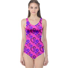 Pink And Blue Hearts Goddess Size 5xl One Piece Swimsuit by Goddess