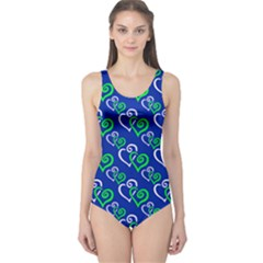 Blue And Green Hearts Goddess Size 5xl One Piece Swimsuit by Goddess