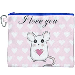 Cute Mouse   Valentines Day Canvas Cosmetic Bag (xxxl) by Valentinaart