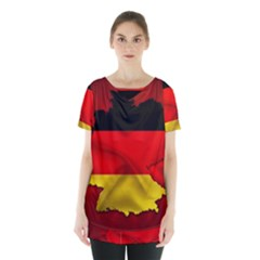 Germany Map Flag Country Red Flag Skirt Hem Sports Top by Nexatart