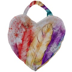 Feathers Bird Animal Art Abstract Giant Heart Shaped Tote by Nexatart