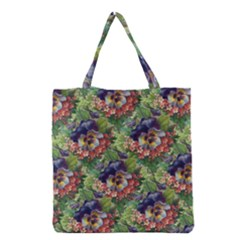 Background Square Flower Vintage Grocery Tote Bag by Nexatart
