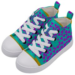 Raining Love And Hearts In The  Wonderful Sky Kid s Mid Top Canvas Sneakers by pepitasart