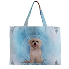 Cute Little Havanese Puppy Zipper Mini Tote Bag by FantasyWorld7