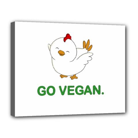 Go Vegan   Cute Chick  Canvas 14  X 11  by Valentinaart