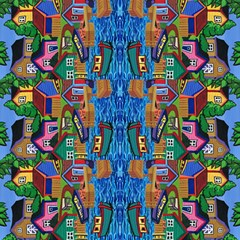 3 Boats And A Fish Table  Fabric by reillyfitzart