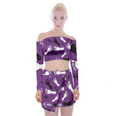 Purple Off Shoulder Top With Mini Skirt Set by HASHHAB