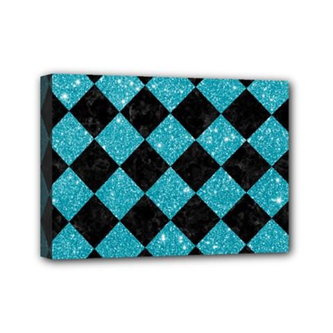 Square2 Black Marble & Turquoise Glitter Mini Canvas 7  X 5  by trendistuff