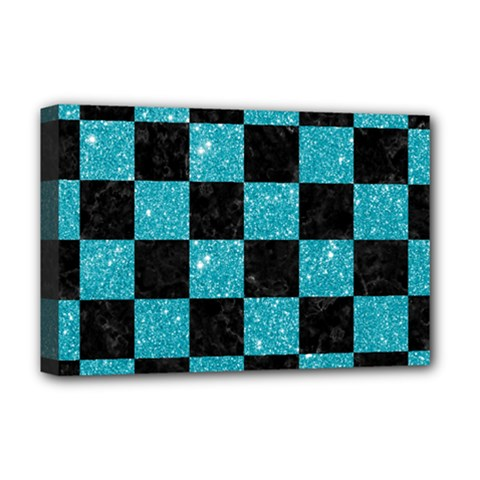Square1 Black Marble & Turquoise Glitter Deluxe Canvas 18  X 12   by trendistuff