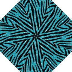 Skin4 Black Marble & Turquoise Glitter (r) Hook Handle Umbrellas (large) by trendistuff