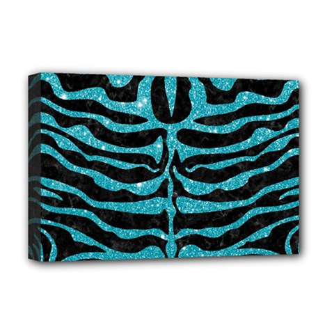 Skin2 Black Marble & Turquoise Glitter (r) Deluxe Canvas 18  X 12   by trendistuff